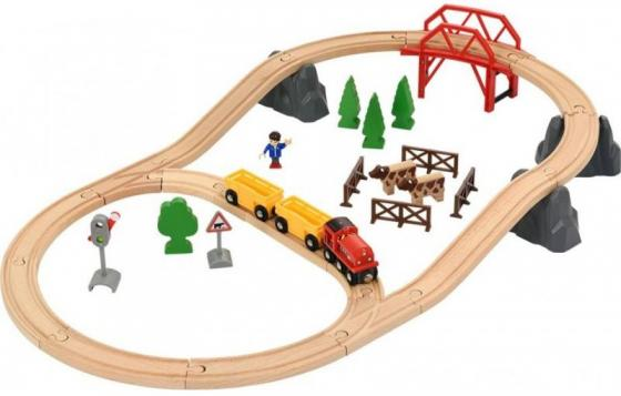 Железная дорога Brio Поездка по сельской местности с мостом с 3-х лет 33909 погрузчик с вращением с магнитом блист brio