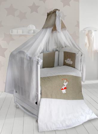 Постельный сет 7 предметов Labeillebaby Мой милый Зайка (белый) комплект в кроватку labeillebaby светик 7 предметов белый