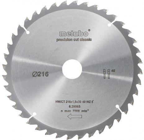 Пильный диск Metabo216x1.8x30 HM40WZ 5отр д.KS/KGS216LTX 628065000 пильный диск по дереву 216x1 8x30 мм metabo 628065000