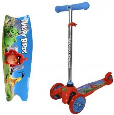Самокат трехколёсный 1TOY Angry Birds — красно-синий