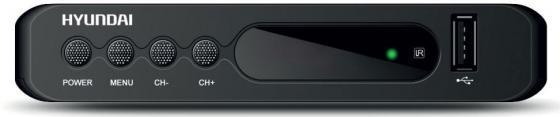 Тюнер цифровой DVB-T2 Hyundai H-DVB160 черный тюнер цифровой dvb t2 hyundai h dvb160 черный