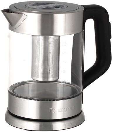 Чайник KITFORT КТ-623 2200 Вт серебристый прозрачный чёрный 1.5 л металл/стекло чайник kitfort кт 628 2200 вт прозрачный 1 7 л металл стекло