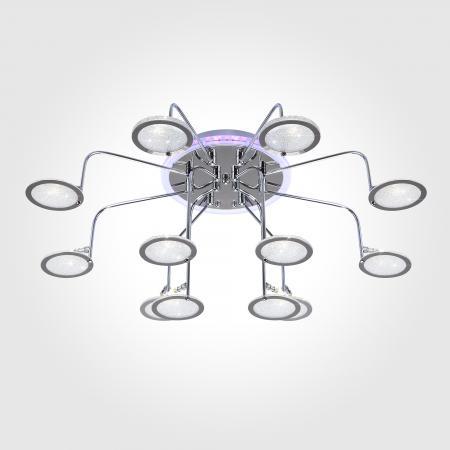 Потолочная люстра с пультом ДУ Eurosvet Spider 80109/12 хром/синий+фиолетовый