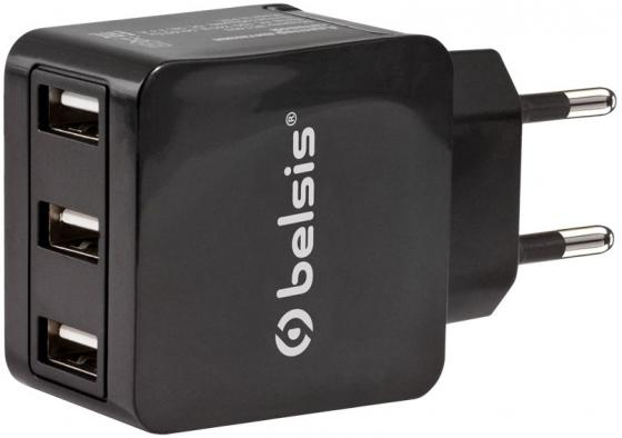 Сетевое зарядное устройство Belsis BS1403 3.1А 3 x USB черный 9 inch car headrest mount dvd player digital multimedia player hdmi 800 x 480 lcd screen audio video usb speaker remote control