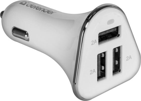 Автомобильное зарядное устройство Defender UCA-04 6А 3 x USB белый 83566 автомобильное зарядное устройство defender uca 04 3 x usb 6а белый 83566