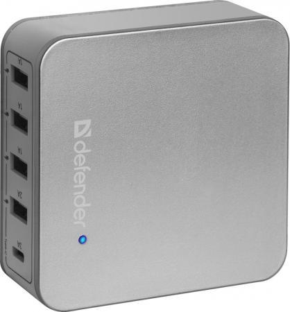 все цены на Сетевое зарядное устройство Defender UPA-50 8А 4 x USB USB-C серебристый 83538 онлайн