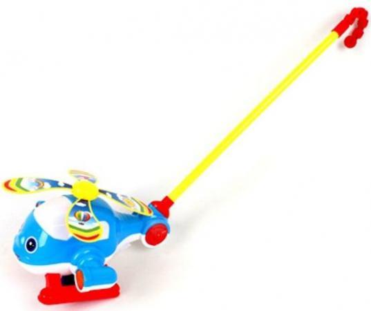 Каталка на палочке Наша Игрушка Вертолетик пластик от 6 месяцев на колесах синий 0362 каталка на палочке наша игрушка пилот пластик от 1 года на колесах красный 8500 1
