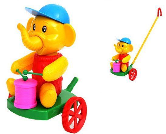 Каталка на палочке Suchanek Слон с барабаном пластик от 6 месяцев на колесах разноцветный SHNK-05