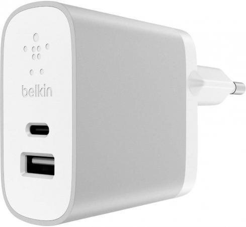 Сетевое зарядное устройство Belkin F7U011vfSLV 3/2.4 A USB USB-C серебристый кабель usb type c belkin 3 1 usb a to usb c f2cu029bt1m blk