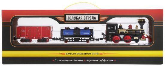 Ж/д Голубая стрела Товарный поезд, 240 см, паровоз, 2 вагона голубая стрела ж д голубая стрела веселые горки конструктор пазл