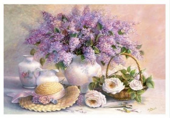 Пазлы 1000 Цветы, живопись