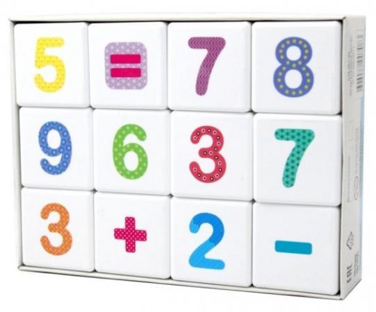 Кубики Весёлая арифметика 12 шт
