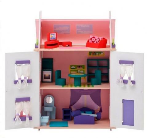 Кукольный домик Анастасия, для кукол до 15 см (15 предметов мебели) цена и фото