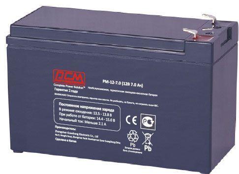 Батарея Powercom PM-12-7.0 12Вт 7.2Ач, необслуживаемая  - купить со скидкой