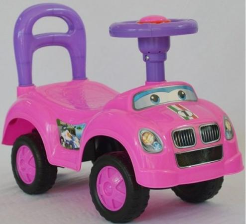 купить Каталка на шнурке Наша Игрушка Машина-каталка Авторалли пластик от 3 лет на колесах розовый Q09-1/PINK по цене 860 рублей