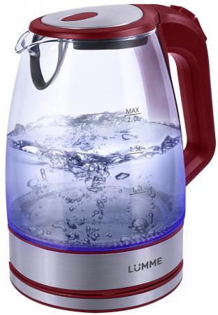 Чайник Lumme LU-139 2200 Вт красный гранат 2 л пластик/стекло мультиварка lumme lu 1446 туманный нефрит 860 вт 5 л