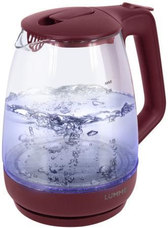 Чайник Lumme LU-140 2200 Вт красный гранат 2 л пластик/стекло термопот lumme lu 295 blue sapphire
