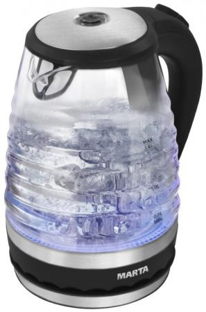 Чайник Marta MT-1085 2200 Вт черный жемчуг 1.8 л пластик/стекло чайник akai kw 1085 x