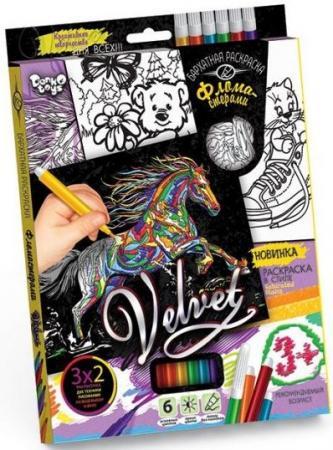 цена на Набор креативного тв-ва Бархатная раскраска фломастерами VELVET Лошадь