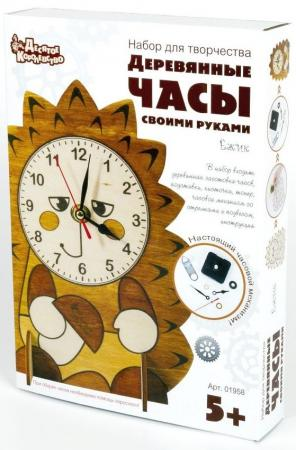 Набор для творч. Деревянные часы Ёжик десятое королевство 01957 деревянные часы с красками медвежонок
