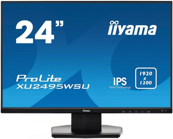 Монитор 24 iiYama XU2495WSU-B1 черный IPS 1920x1200 300 cd/m^2 5 ms VGA HDMI DisplayPort USB Аудио