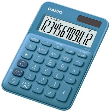 Калькулятор бухгалтерский CASIO MS-20UC-BU 12-разрядный синий калькулятор настольный casio ms 20uc gn s ec 12 разрядный зеленый
