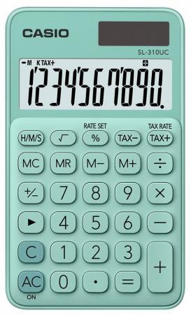Калькулятор карманный CASIO SL-310UC-GN-S-EC 10-разрядный зеленый калькулятор карманный casio hl 820lv 8 разрядный