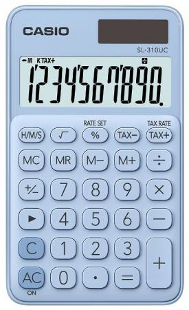 Калькулятор карманный CASIO SL-310UC-LB-S-EC 10-разрядный голубой калькулятор карманный casio hl 820lv 8 разрядный