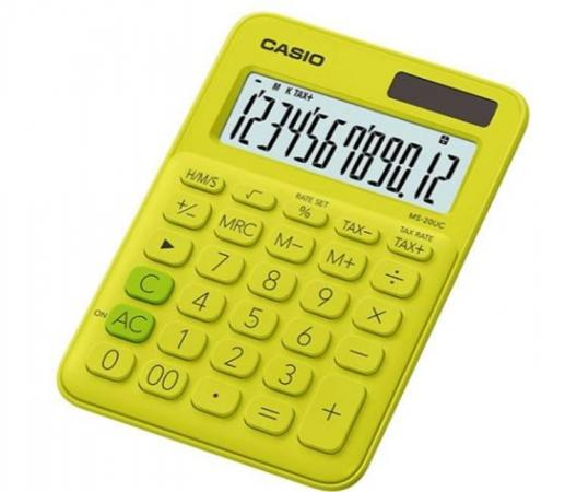 Калькулятор настольный CASIO MS-20UC-YG-S-EC 12-разрядный желтый калькулятор casio ms 20uc bu s ec 12 разрядный синий