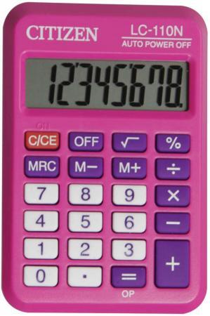 Калькулятор карманный Citizen LC-110N 8-разрядный розовый калькулятор citizen lc 310n карманный 8рр 7х11х2см черный