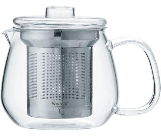 Чайник заварочный Winner WR-5220 прозрачный металлик 0.65 л металл/стекло чайник 0 35 л winner чайник 0 35 л