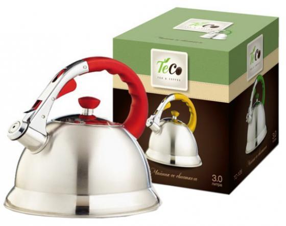 Чайник Teco TC-106-R серебристый красный 3 л нержавеющая сталь чайник teco со свистком 3 л tc 107 r