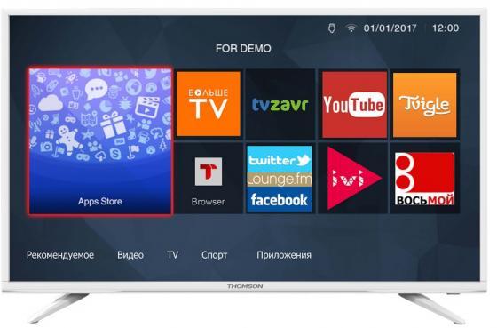 Телевизор 43 Thomson T43FSL5031 белый 1920x1080 50 Гц Wi-Fi Smart TV RJ-45 WiDi телевизор led 40 bbk 40lex 5027 t2c черный 1366x768 50 гц wi fi smart tv vga rj 45