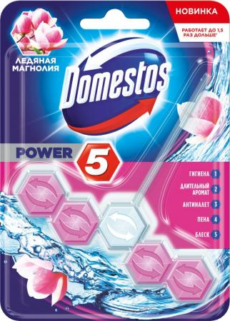 DOMESTOS Блок для очищения унитаза Power 5 Ледяная Магнолия 55гр запаснойблокдляунитазаморская