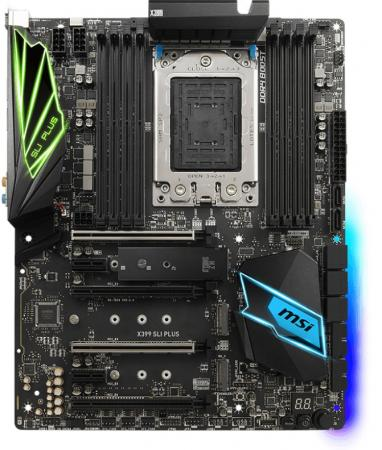 Материнская плата MSI X399 SLI PLUS Socket TR4 AMD X399 8xDDR4 4xPCI-E 16x 2xPCI-E 1x 8 ATX Retail msi z370 sli plus