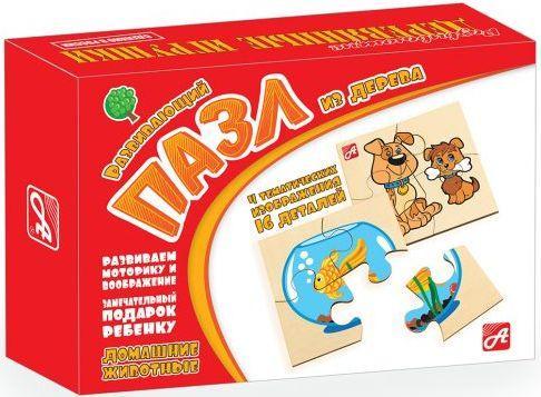 Пазл деревянный 4 элемента Русские деревянные игрушки Домашние животные Д543а качели деревянные игрушки волна сус1