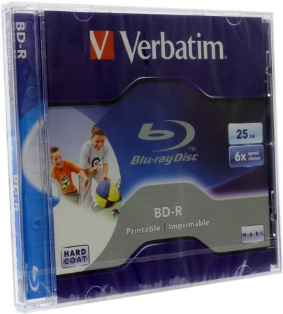 Диски BluRay Verbatim BD-R 25Gb 6x JewelCase Printable 43712 1шт 12cm high quality blu ray unmarked printable bd r empty blank record disc disk 8x 25gb 50pcs