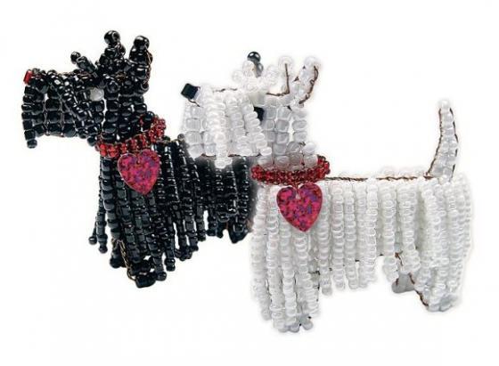 Набор для творчества Клевер Фигурка из бисера Терьер Клякса АА 05-521 набор для творчества клевер плетение кулона из бисера дивный павлин аа 07 215