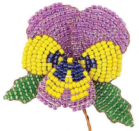 Набор для творчества Клевер Цветы из бисера Анютина фиалка АА 05-609 набор для творчества брошь семицветик аа 05 554