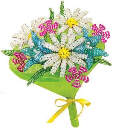 Набор для творчества Клевер Букет из бисера Ромашки и Колокольчики АА 42-621 набор для творчества клевер набор для изготовления цветка из бисера алая роза