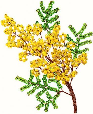Набор для творчества Клевер Цветы из бисера Мимоза АА 05-605 семена клевер белый клондайк 150г