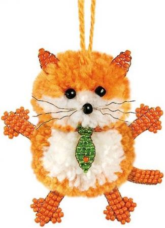Набор для творчества Клевер Фигурка из бисера Маленький кот АА 09-203 набор для творчества клевер плетение кулона из бисера дивный павлин аа 07 215