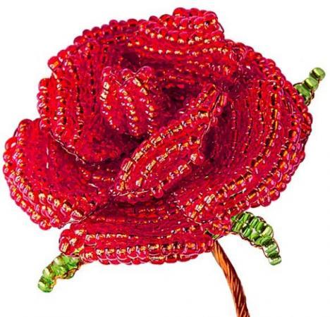 Набор для творчества Клевер Цветы из бисера Алая роза АА 05-602