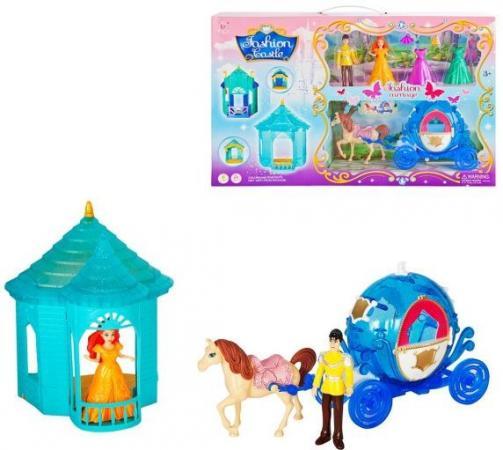 Набор игровой: карета син., фигурки 2 шт, сменные наряды 2 шт., лошадка, шатер, кор. чаша горошек 2 л бел син 1150426