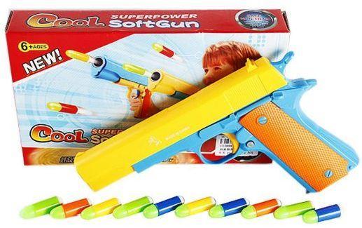 Пистолет Наша Игрушка Пистолет с пулями желтый синий оранжевый 447-13