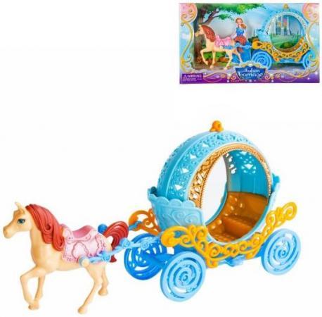 Карета с лошадью Наша Игрушка Карета круглая голубая с лошадкой SS022C игрушка