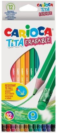 Набор карандашей цветных CARIOCA TITA ERASABLE, 12 цв., шестигранные, с европодвесом набор цветных карандашей universal carioca 24 шт 17 5 см односторонние 40381 точилка 40381