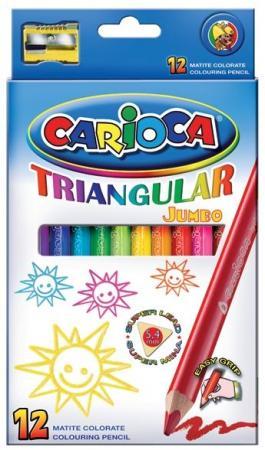 Набор карандашей цветных CARIOCA TRIANGULAR JUMBO, 12 цв., трехгранные, в карт. коробке carioca набор экстра крупных восковых карандашей baby для детей