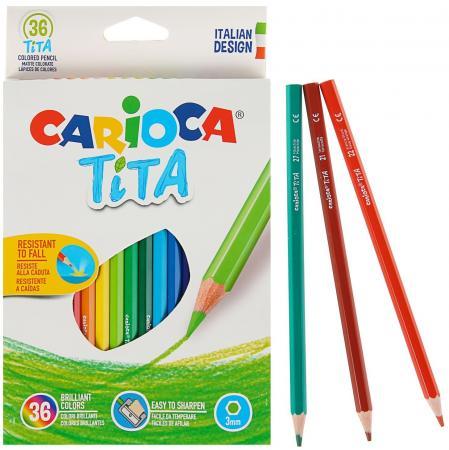 Набор карандашей цветных пластиковых Carioca Tita 36 цв, в картонной коробке с европодвесом (шестиуг carioca набор крупных цветных карандашей tita maxi 6 цветов