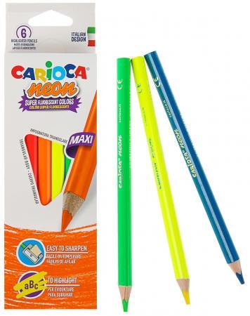 Набор карандашей-текстовыделителей деревянных Carioca Neon, 6 цветов, в картонной коробке с европод набор карандашей carioca bicolor 43031 48 цветов 24 шт